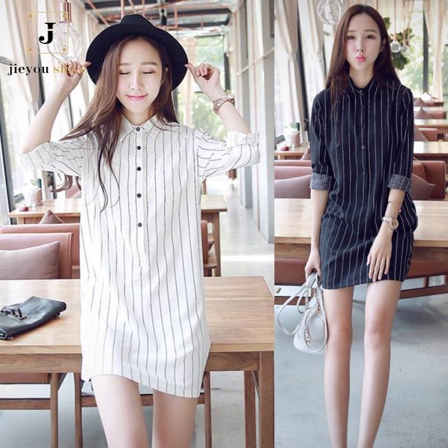 861e7b3fc5efe Lady Fashion Long Sleeve Stripe Slim Shirt Dress