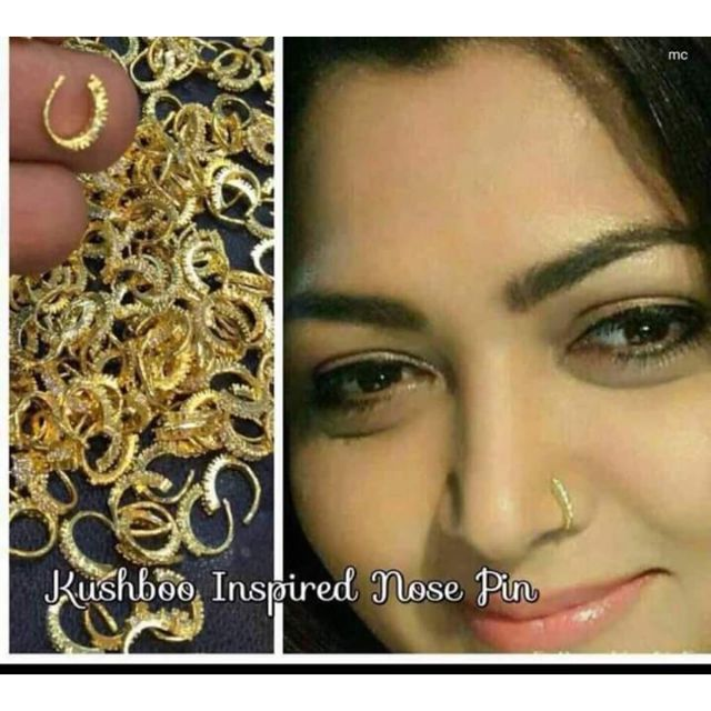 Kushboo Nose Pin Gold Plated With American Diamond Shopee Malaysia