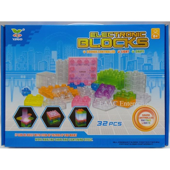 Electronic Lego Building Blocks Bricks Sound Controlled Lights Learn