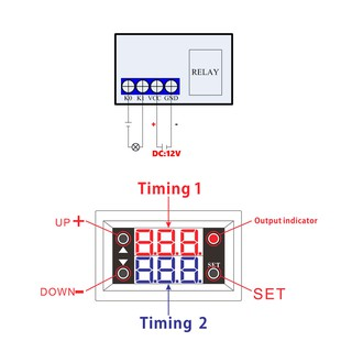12V Timer Delay Relay Module Digital LED Display Cycle 0-999