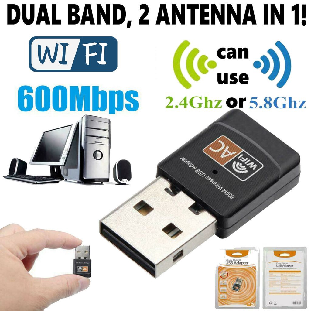 600Mbps Wireless USB Wifi Adapter Dongle Dual Band 2.4G//5GHz Antenna 802.11AC BE