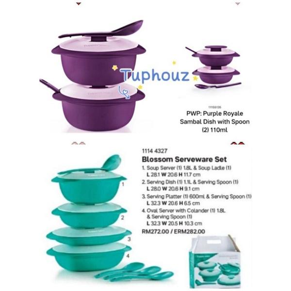 【READY STOCK】(2pcs OR 2pcs+PWP2pcs) 1.6L Tupperware Purple Royale Blossom Serveware Round Server with Serving Set Spoon