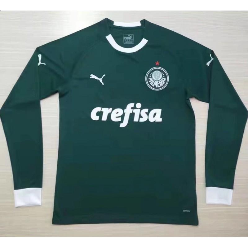sale retailer c5695 97397 Palmeiras home green long sleeve soccer jersey 2019 2020 football shirt