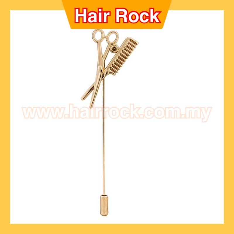 Scissor and Comb Barber's Lapel Pin/Shirt Stud Brooch Golden
