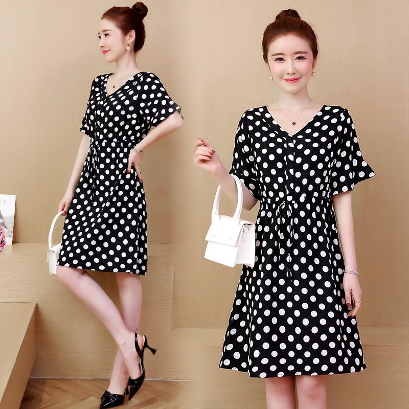 0ddc1a12a8 l-5xl large size dress big yards dress wave point dress fat mm