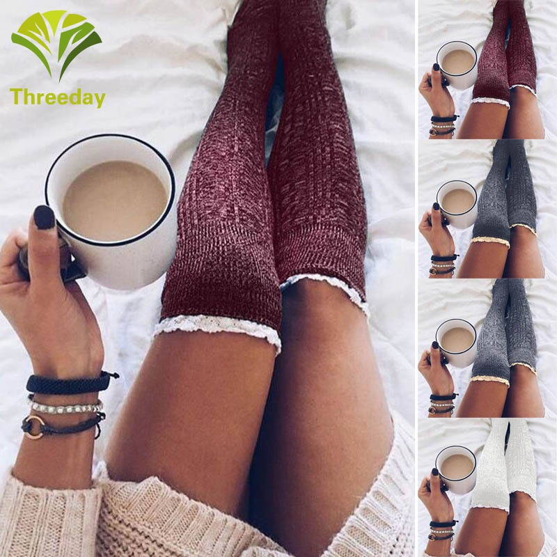 release date new product various design Women Knee High Lace Socks Over Knee Socks Thigh High Thick Girls Knitting  Long Stockings