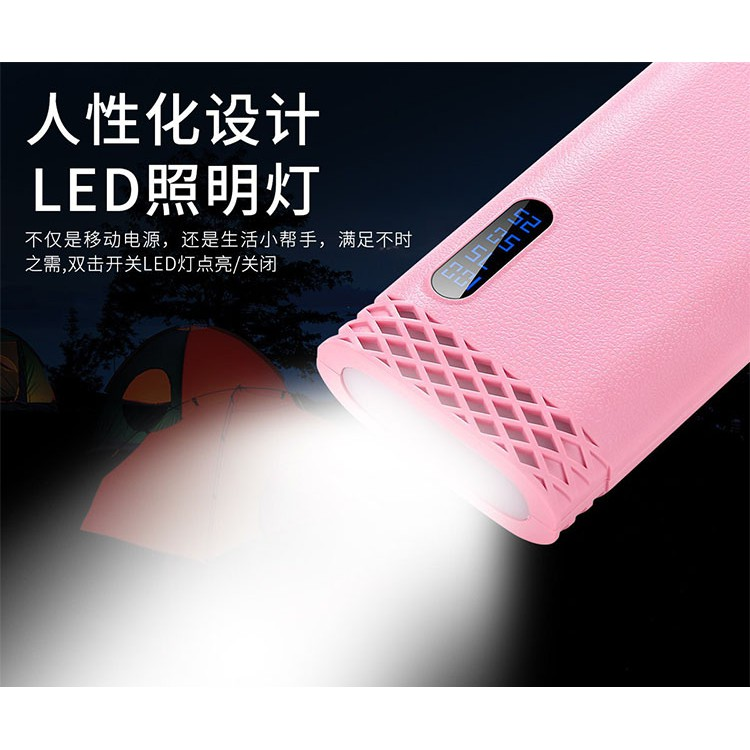 GENUINE 10000MAH POWER BANK QUICK CHARGE TORCH LIGHT 2.1A DUAL USB PORTS SUPPORT ALL KIND DEVICE INTELLIGENT CHARGING