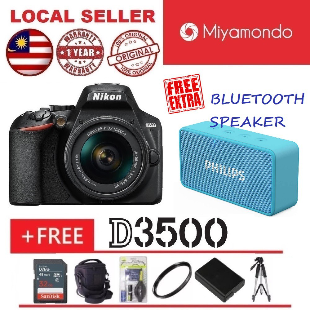 Nikon D3500 18-55mm + 32GB + Bag + Tripod + Extra Battery + Cleaning Kit +  UV Filter + Philips Bluetooth Speaker