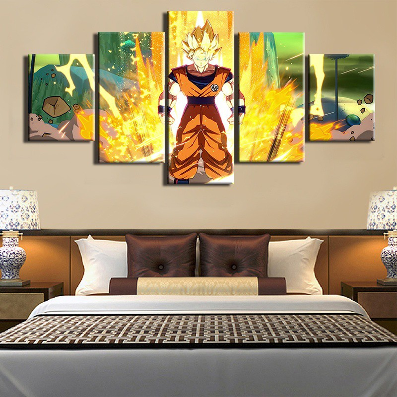 Unframed 5 Piece Anime Posters Goku Wall Stickers Living Room Background Decor