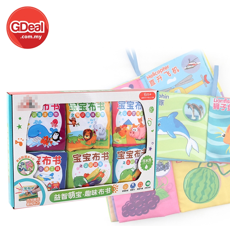 GDeal Baby Early Educational 2 Language 6 Piece Book In Chinese And English Washable Tear Resistant Book Buku Kanak