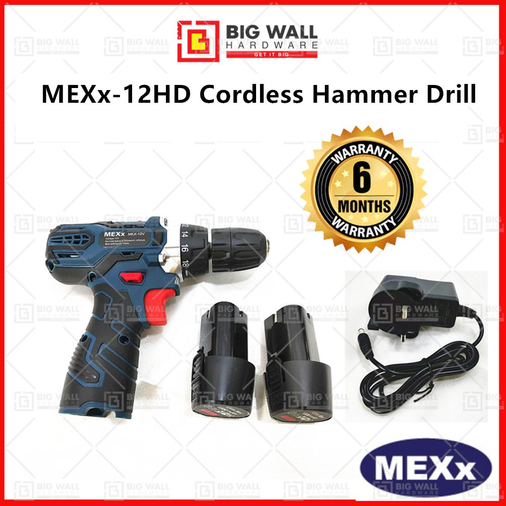 MEXx 12V Cordless Driver Drill With 2 Li-ion 1500 mAh Batteries & 1 Charger (6 MONTHS WARRANTY) 手电钻 Big Wall Hardware