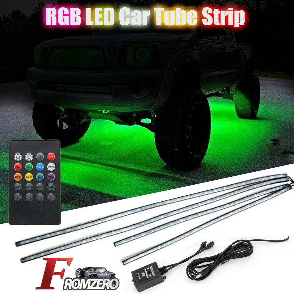 Cimoto 8 Color LED Strip Under Car Tube Underglow Underbody System Neon Lights Kits