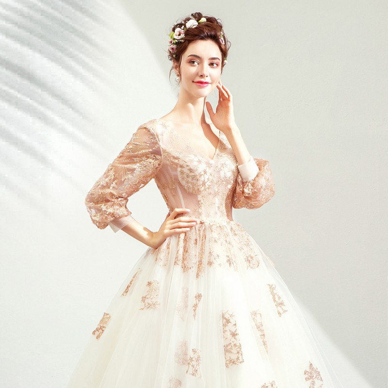 Long Sleeved Wedding Dresses.璀璨星光 Golden Long Sleeved Bride Toast Clothing Dinner Party Wedding Dress 2266