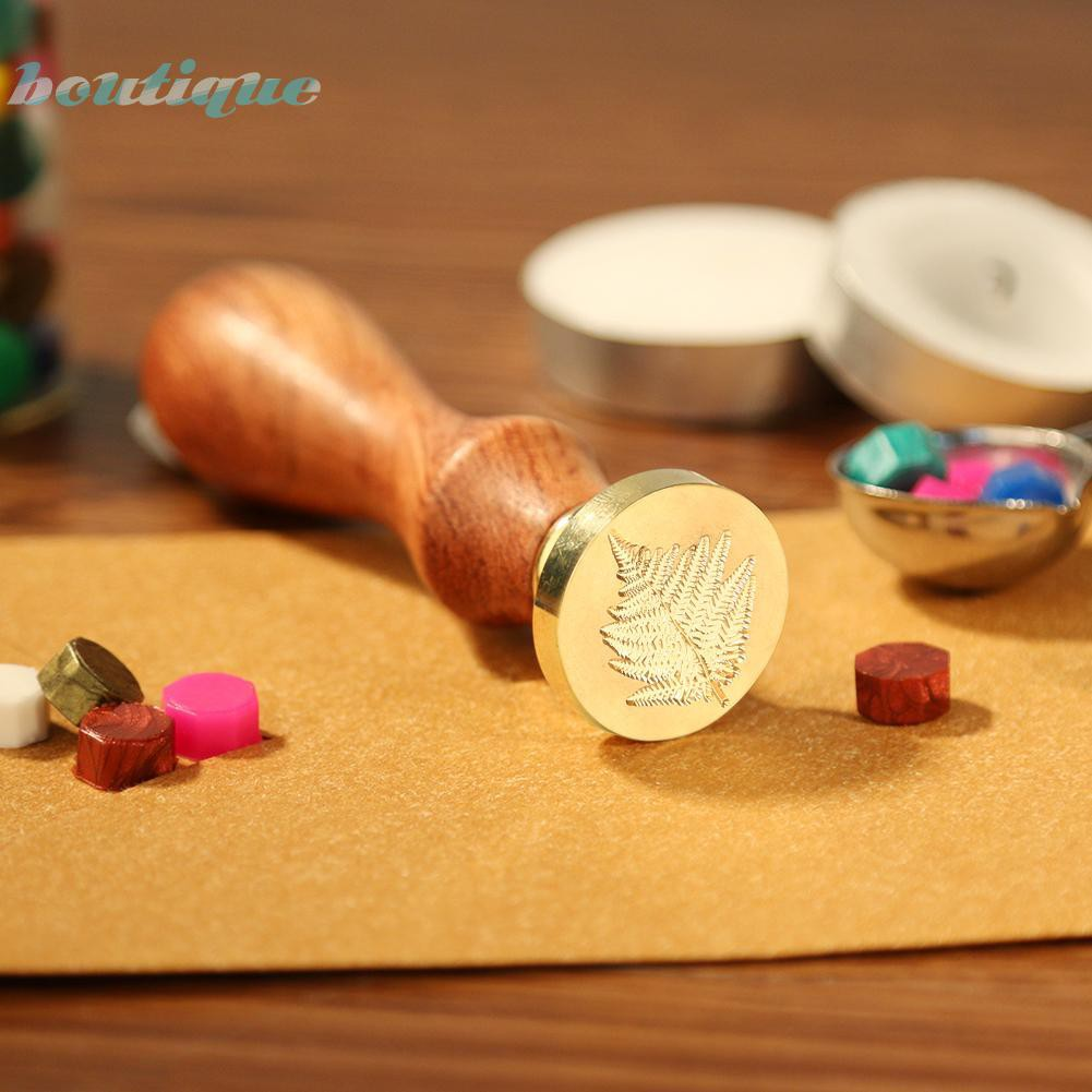 bouRetro Plant Pattern Sealing Wax Wood Handle Wax Seal Stamps DIY Decorative Craft Gifts for Envelope Letter