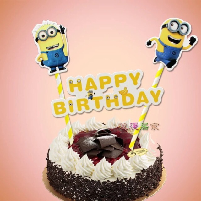 Peachy Malaysia Ready Stok Minion Happy Birthday Cake Topper Shopee Personalised Birthday Cards Cominlily Jamesorg