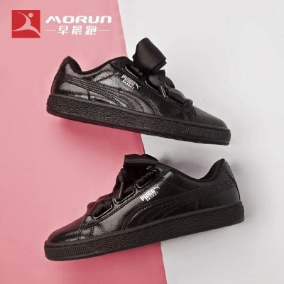 HN Ready Stock 100%ori Puma Basket Heart 364108 01 Rihanna bow tie loungers black