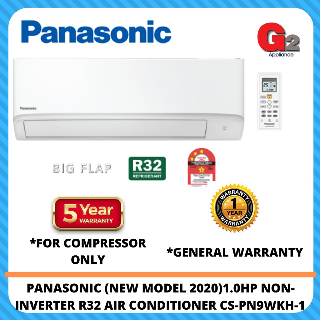 Panasonic (New 2020) 1.0hp Non-Inverter Air Cond R32 CS-PN9WKH-1 (Replacement Model CS-PN9VKH)