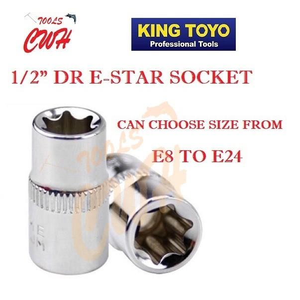"KING TOYO STANDARD SOCKET 1/2"" E-STAR SOCKET STANLEY MAKITA M10 KTC SKC EXTENTION BAR"