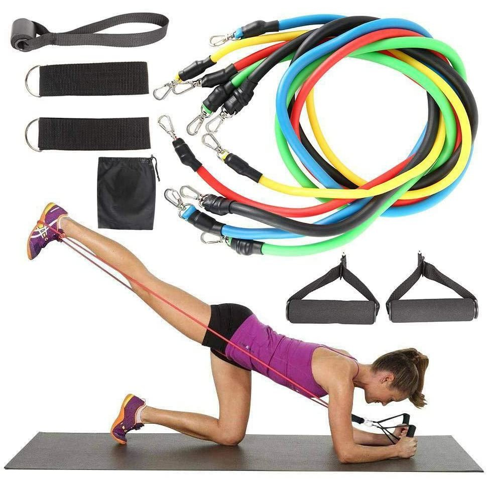 11Pcs Resistance Bands Fitness Set Workout Exercise with Handles Home Gym Tubes