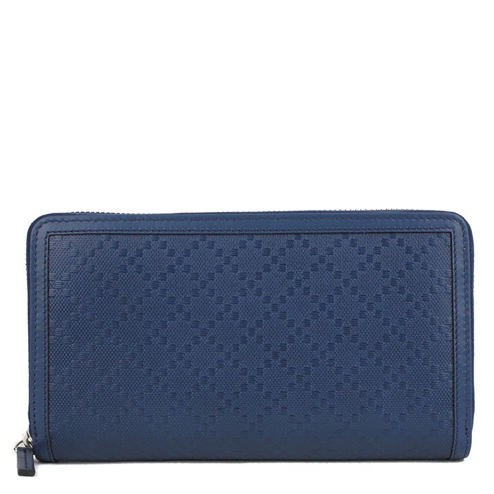 Gucci Leather Zip Around Wallet - Blue