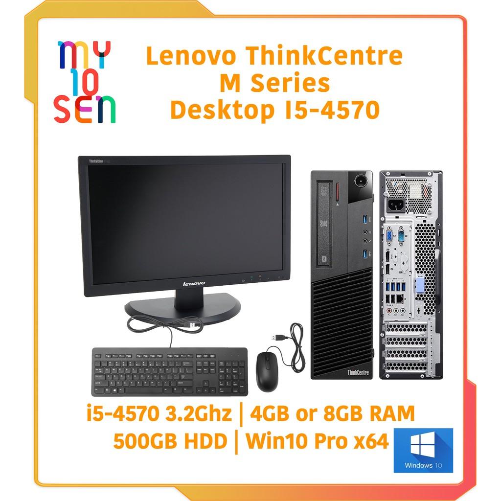Lenovo ThinkCentre i5 4th Gen 4570 Desktop 8GB DDR3 SSD HDD Win 10 & HD4600  & 18 5