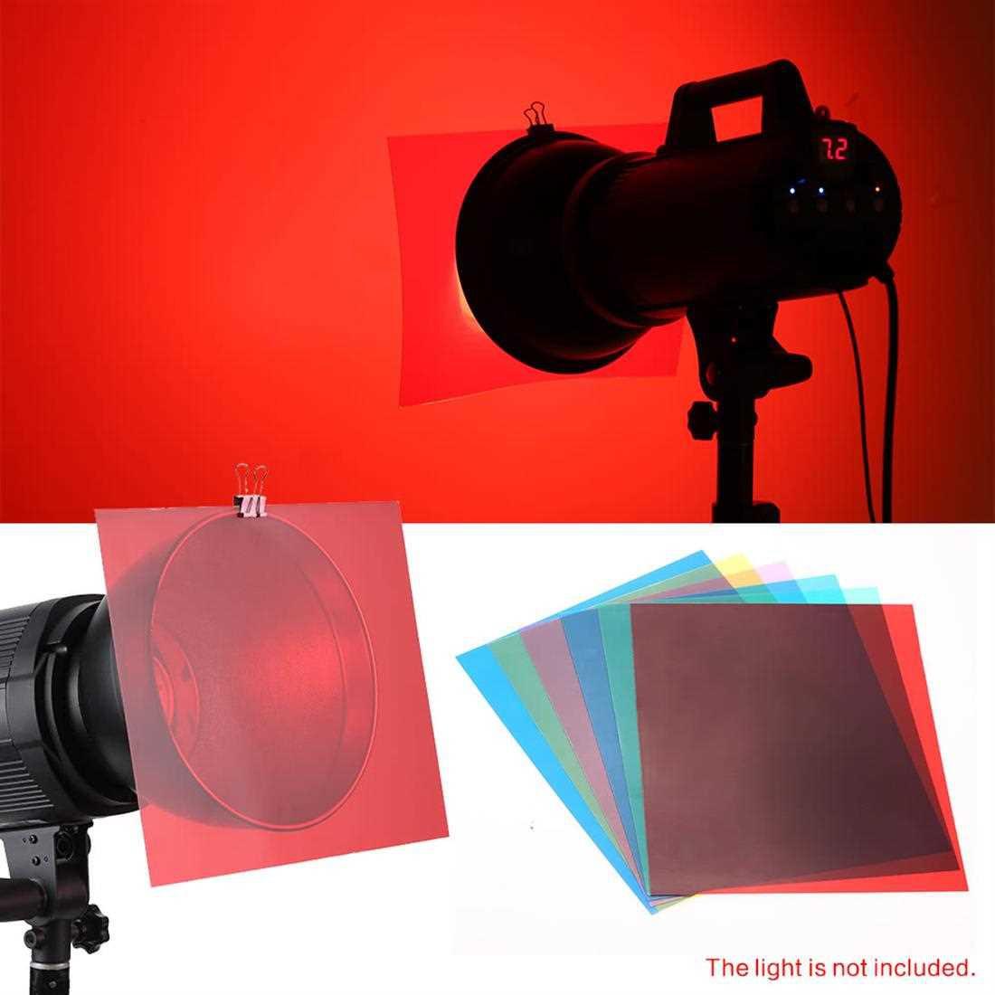 6pcs 25 * 20cm Transparent Lighting Color Correction Gel Sheets Filter Set for Flash Light Speedlite (Standard)