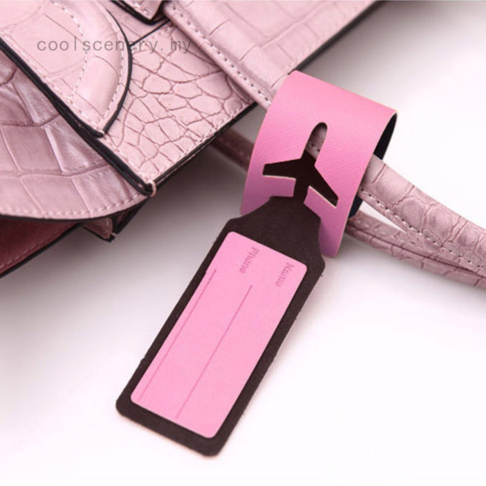 Set of 2 PU Leather Luggage Tags Sasuke Suitcase Labels Bag Adjustable Leather Strap Travel Accessories
