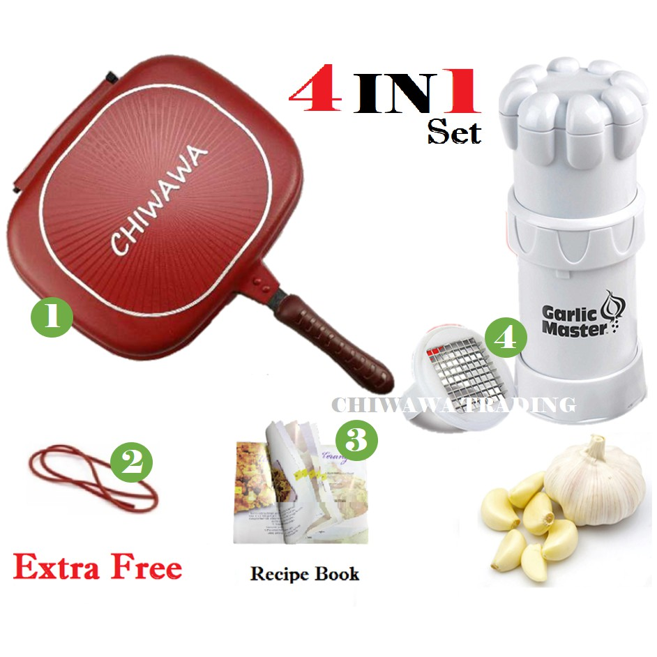 【4 IN 1】Garlic Master Cutter + Italy Double Sided Pan + Rubber Seal +Recipe Book