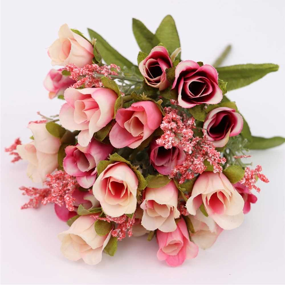 20 Heads 1Pc Artificial Rose Flower Bouquet Home Decor Wedding Mini Rose Silk Flower Romantic Wedding Party Supplies (D