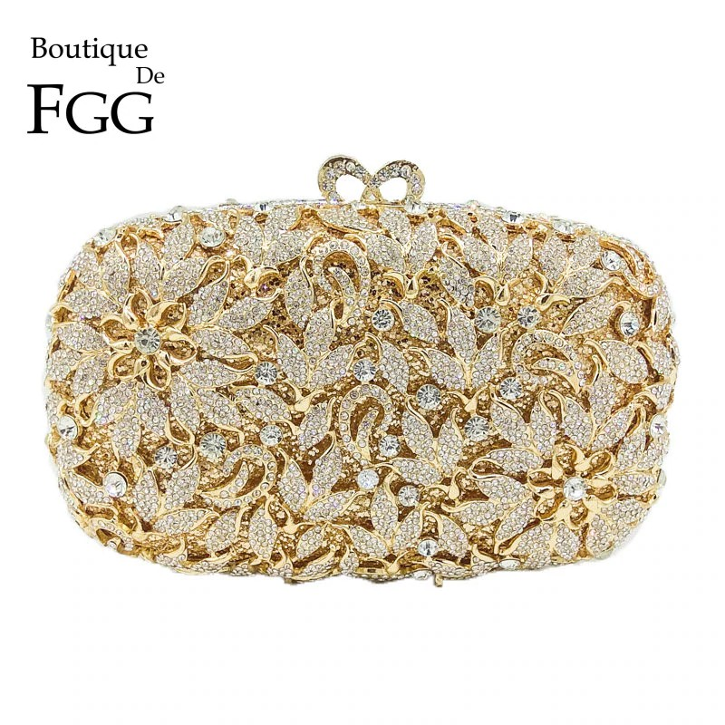 68f33fcf2ebce Boutique De FGG Classic Hollow Out Flower Women Gold Crystal Evening Purse  Metal Clutch Bag Wedding Cocktail Prom Bridal