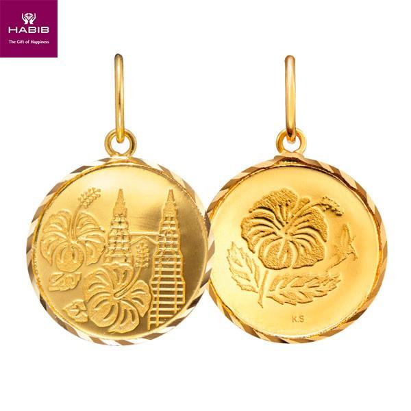 Habib Twin Tower And Bunga Raya Coin Gold Pendant 916