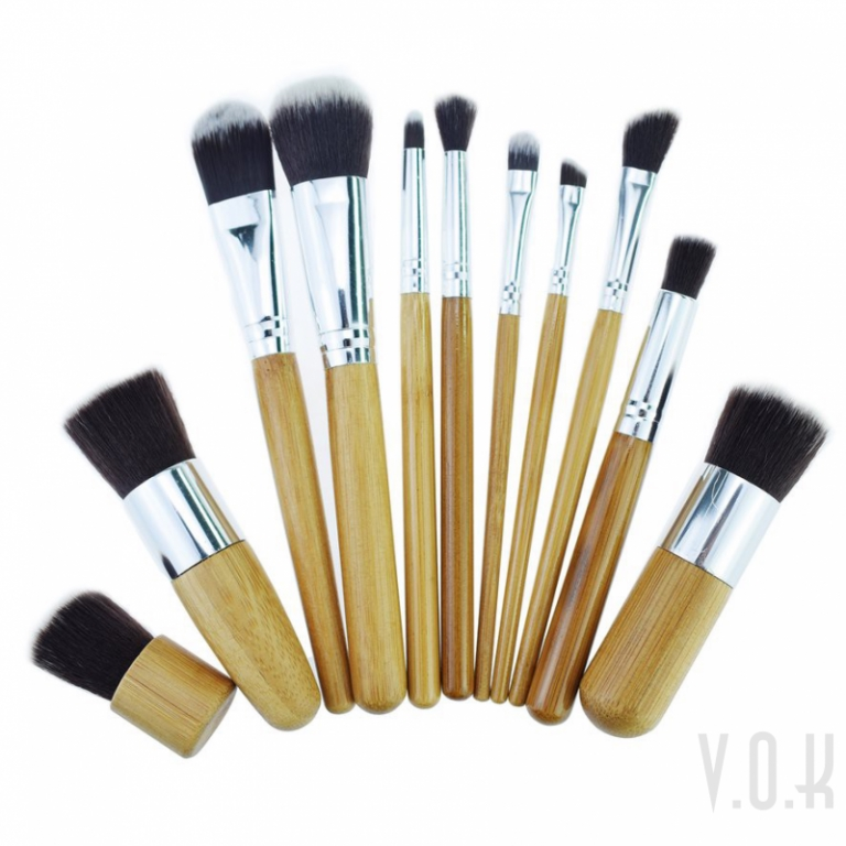 3968b06cec43 VOK 11pcs Bamboo Natural Makeup Brush Foundation Brushes Set