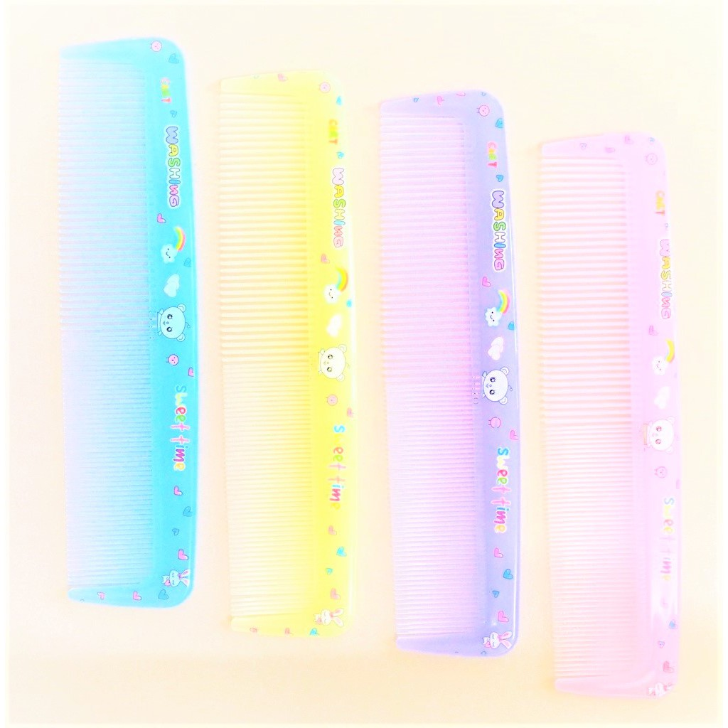 Comb Thin & Wide Toothed Comb Sweet Colour Art Printed Hairdressing