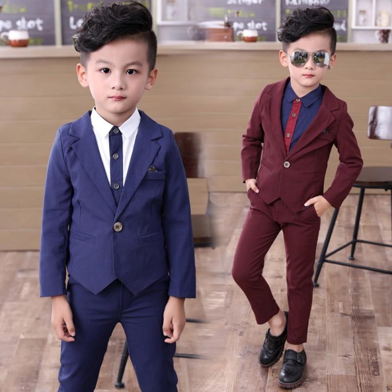 0278f6e1f47f6 CS Kids Boys Formal Suit For Wedding Jackets Concert Suit Coat+Pants Sets