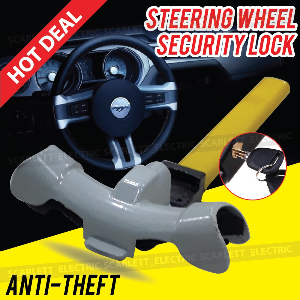Auto: accessoires NEW  FLOURESCENT STEERING LOCK SHAPED ANTI THEFT CAR WHEEL CAR SECURITY BASEBALL Autobeveiliging
