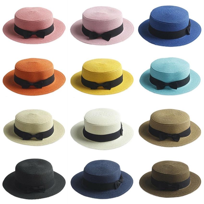 47c85bdf9 Women's Kids Girls Straw Bowler Sun Hat Round Flat Caps Brim Summer Beach ly