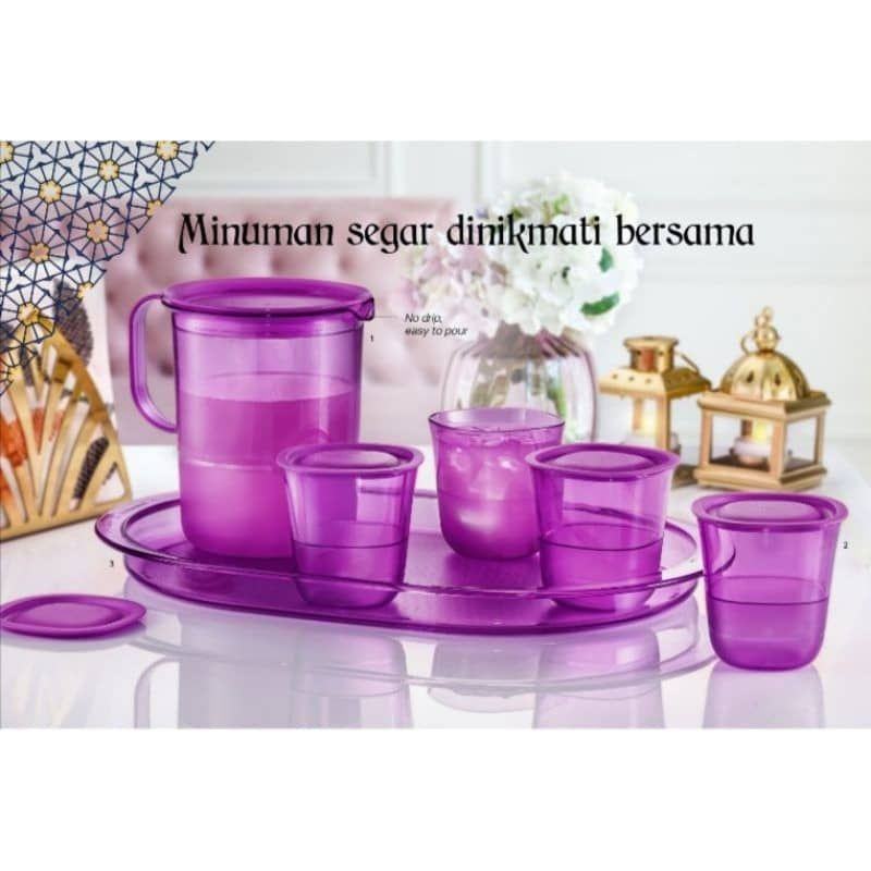 🔥READY STOCK🔥Tupperware Purple Royale Crystalline Pitcher 1.2L/Short Glass 230ml/Serving Tray