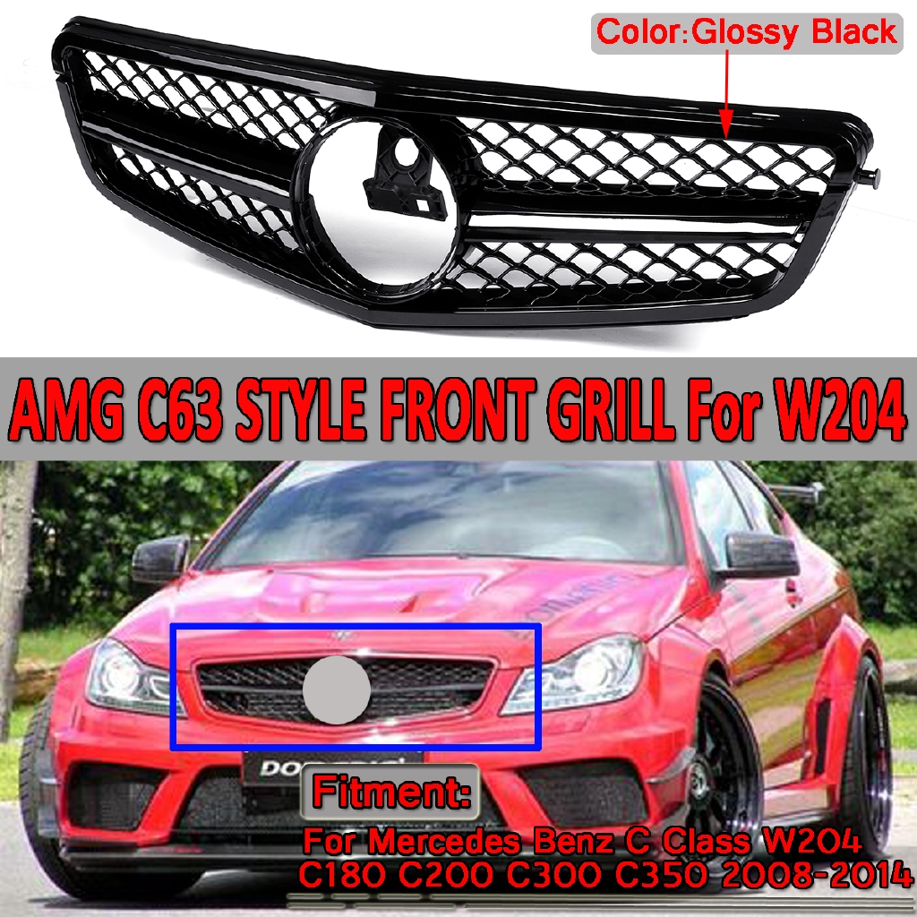 Front Grille Grill For Mercedes Benz W204 C Class C180 C250 C300 C350 2008-2014