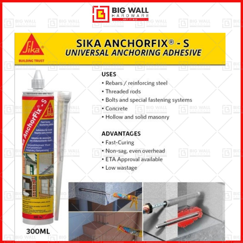 Sika AnchorFix-S Fast Curing Anchoring Adhesive 300ml (Grey colour) Big Wall Hardware