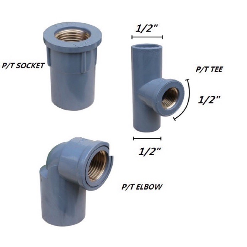 PVC Fitting PT Elbow Socket Tee (Brass Threaded)