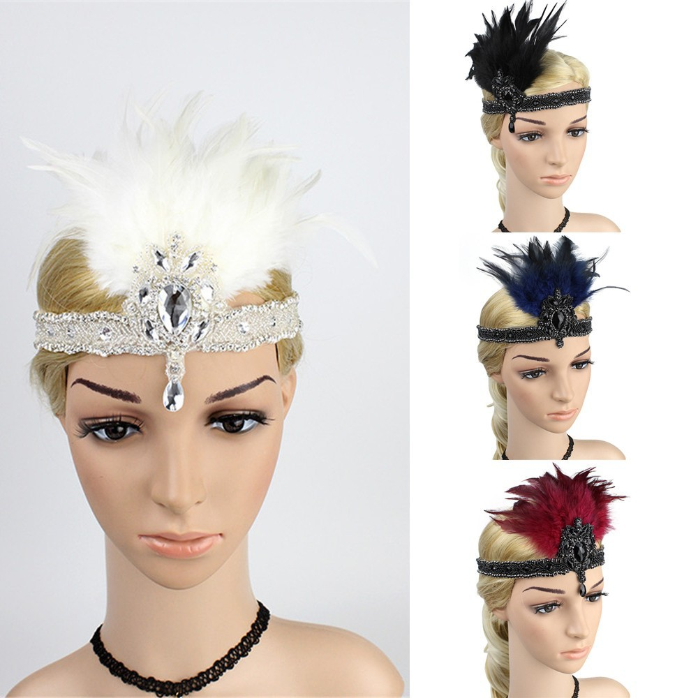 Red /& Silver Ostrich Feather Headpiece Great Gatsby Flapper Headband 1920s 163