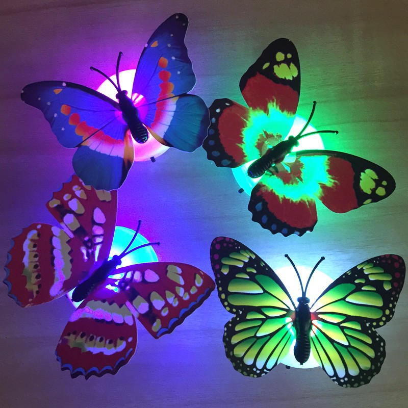 [Ready Stock] Colorful LED Butterfly Night LED Light Home Room Decor Lamp Night Light Wall Light