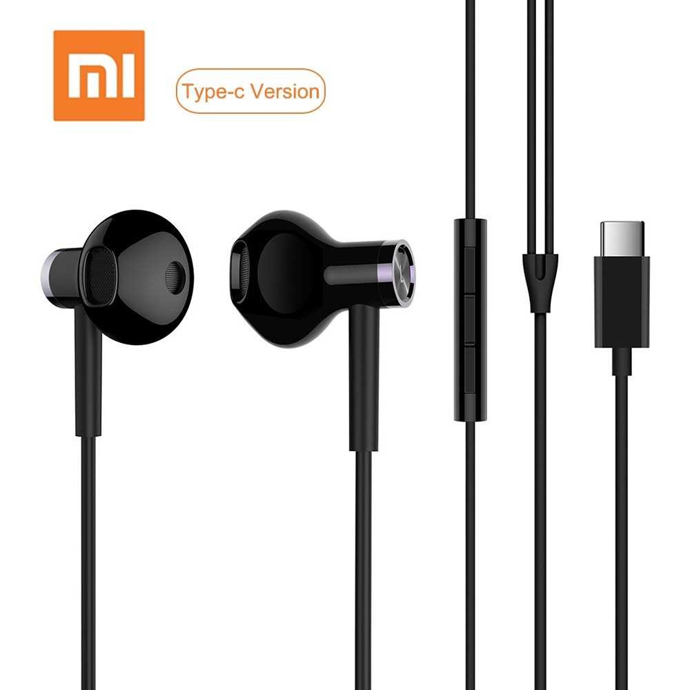 Xiao-mi USB Type-C Earphones Wired Control Dual-Unit Earbuds Headphones with Mic (Black)
