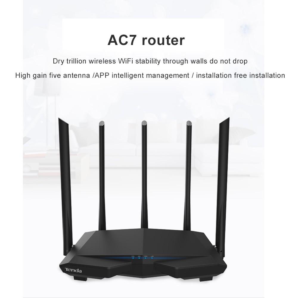 Tenda AC7 wifi Routers 11AC 2 4Ghz/5 0Ghz Wi-fi Repeater 1*WAN+3*LAN 5*6dbi  high gain Antennas
