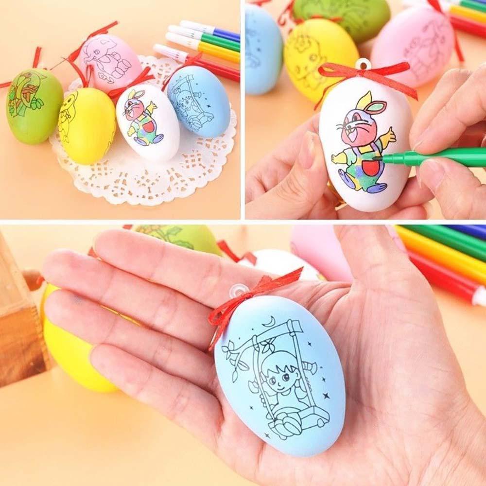 1pcs DIY Easter Egg /& 4 Color pens Set for Kids Painting Toy Decoration Gift New