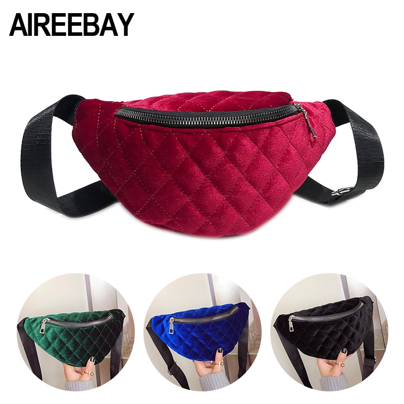 31c768cb34d3 Women Velvet Fanny Pack 2019 Brand Fashion Shoulder Black Chest Bag Lady  Red Belly Belt Bag Waist Pack Crossbody Bags