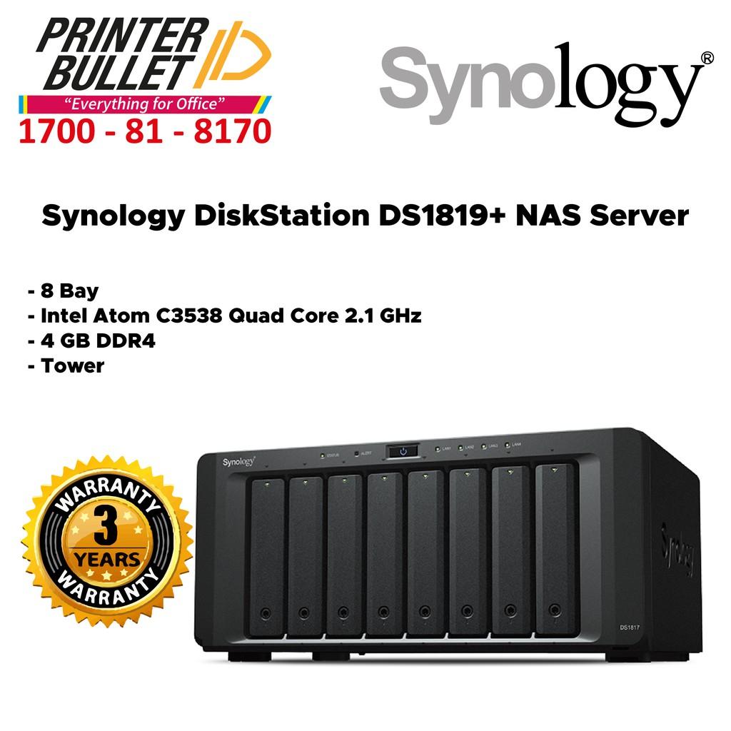 Synology DiskStation DS1819+ NAS Server (8 Bay, 4 GB DDR4, Tower)