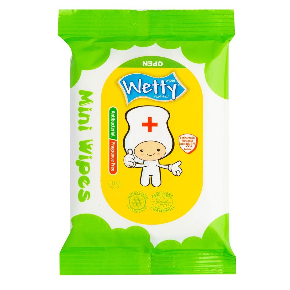 Wetty Mini Wipes 8's (Apple) Exp: May 2020