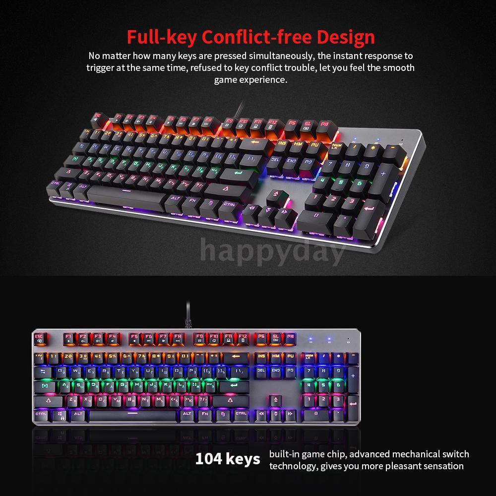 Radom K73 USB Gaming Mechanical Backlit Ergonomic Keyboard Single Key Light Breathing Colorful Backlit with 8 Led Modes