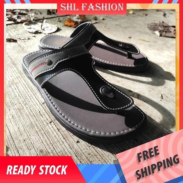 SHL Men PU Leather Sandal T-STRAP Casual Slip On Selipar Kasut Lelaki size 39-44【男士拖鞋】-527